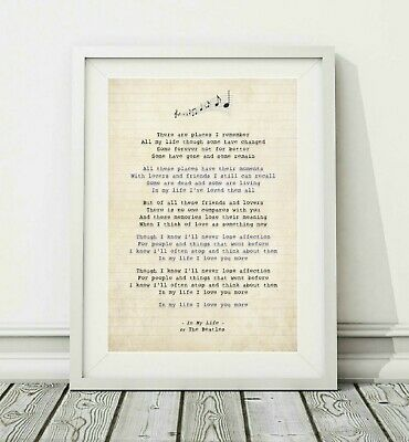 267 The Beatles - In My Life - Song Lyric Art Poster Print - Sizes A4 A3 • 6.95£