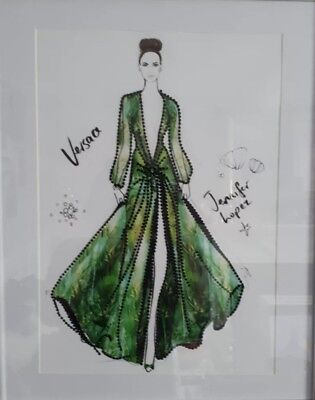 J-Lo - Versace, Green Goddess Dress- Hand Beaded Picture - A3 Picture Only • 19.99£