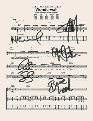 Oasis - *RARE* Signed / Autographed  WONDERWALL MUSIC SHEET BEST SELLER ⭐⭐⭐⭐⭐754 • 19.99£