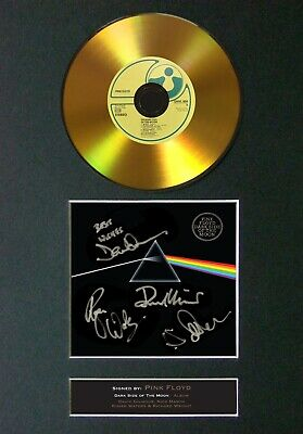 #96 PINK FLOYD Dark Side..... Reproduction GOLD CD Signed Autograph Mounted • 22.99£