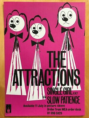 The Attractions, Single Girl B/w Slow Patience, 1980 Promo Shop Mailer Flyer. • 25£