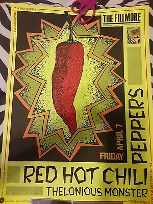 Red Hot Chili Peppers Thelanious Monster Fillmore West 1989 Poster MINT Condit • 56.75£