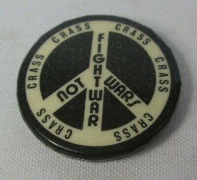 Crass Fight Wars CND Vintage Original Early 1980s Badge Pin Button Anarcho Punk  • 11.49£
