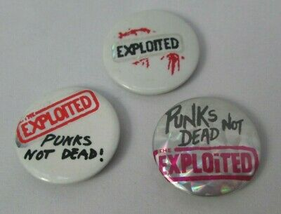 The Exploited 3 X Vintage Early 1980s Badges Pins Buttons Anarcho Punk  • 9.99£