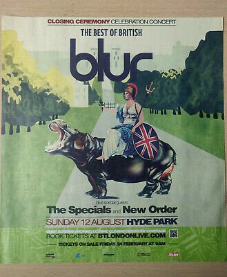 BLUR - Hyde Park London Concert, August 2012 - Magazine Advert Picture - RARE! • 4.50£