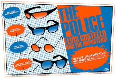The Police Concert Poster Elvis Costello And The Imposters 2008 Orange Varian... • 34.52£