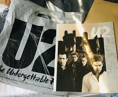 U2 Tour Programme Unforgettable Fire In Rare Plastic Carrier Bag And Merch Sheet • 25£