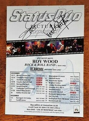 STATUS QUO AUTOGRAPHED TOUR FLYER, (With Cert. Of Authenticity) • 29.99£