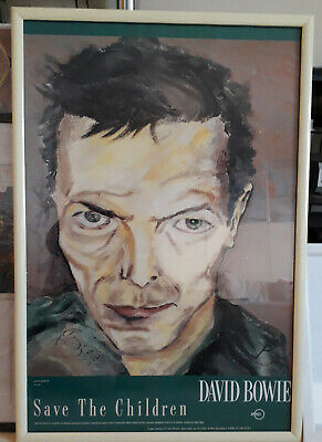 David BOWIE SIGNED AUTOGRAPH 1990 SAVE THE CHILDREN SELF PORTRAIT POSTER FRAMED  • 900£