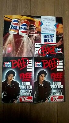RARE Michael Jackson Bad Era Pepsi Coke Pop Poster 1988/88 Jacko Concert Tour • 45£
