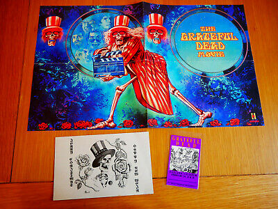 Grateful Dead The Movie Poster, Gig Concert Pass 1995 & Greetings Card  • 8£