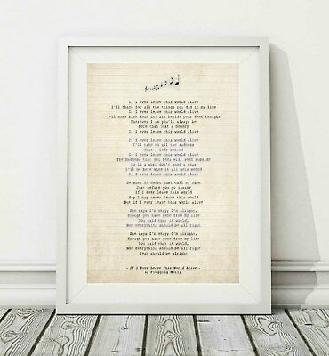 343 Flogging Molly - If I Ever Leave This World Alive - Song Lyric Print - A4 A3 • 6.95£