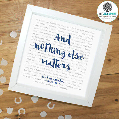 Metallica 'Nothing Else Ma' - Favourite Framed Lyrics Poster - Personalised Gift • 34.90£