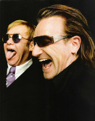 U2 UNSIGNED Photograph - K8158 - Bono And Elton John - SALE!!!! • 1.50£