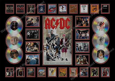 Acdc Signed Brian Johnson Angus Young A4 Limited Edition Autograph Memorabilia • 7.89£