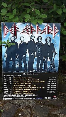 2003 Def Leppard UK Tour Advertising Poster Sheffield Newcastle Brixton Ipswich • 24.99£