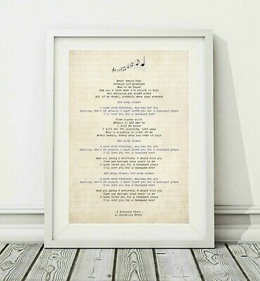 586 Christina Perri - A Thousand Years - Song Lyric Poster Print - Sizes A4 A3 • 6.95£