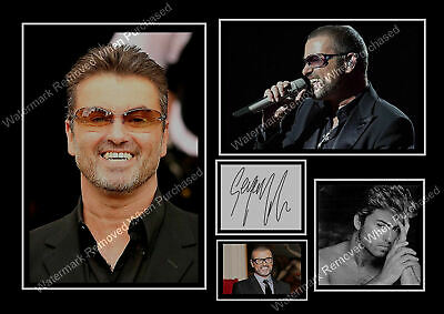 George Michael  -  Autographed Male Singer Songwriter A4 Photo Print Memorabilia • 7.89£