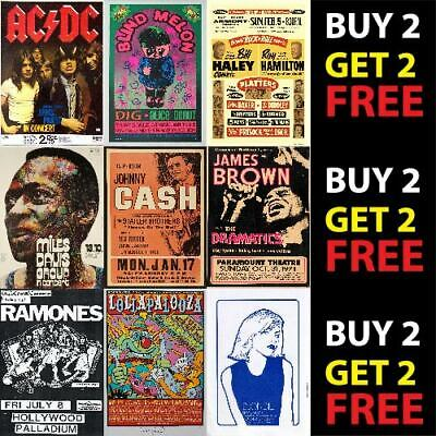 VINTAGE BEST BAND ALTERNATIVE ROCK MUSIC CONCERT POSTERS A4 A3 300gsm QUALITY  • 6.99£