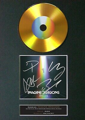 IMAGINE DRAGONS Evolve Mounted Signed Autograph GOLD CD Print A4 #179 • 20.99£