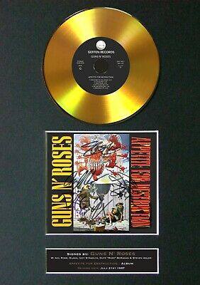 GUNS N ROSES Appetite Mounted Signed Autograph GOLD CD Print A4 #167 • 19.99£