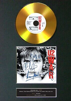 U2 War Mounted Signed Autograph GOLD CD Print A4 #166 • 19.99£