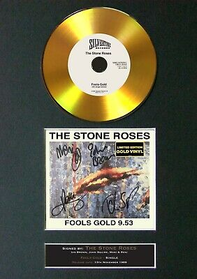 STONE ROSES Fools Gold 9.53 Mounted Signed Autograph GOLD CD Print A4 #155 • 20.99£