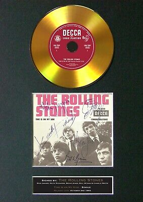 ROLLING STONES Time Is On My Side Mounted Signed Autograph GOLD CD Print A4 #148 • 20.99£