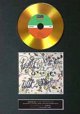 LED ZEPPELIN Led Zeppelin III Mounted Signed Autograph GOLD CD Print A4 #136 • 20.99£