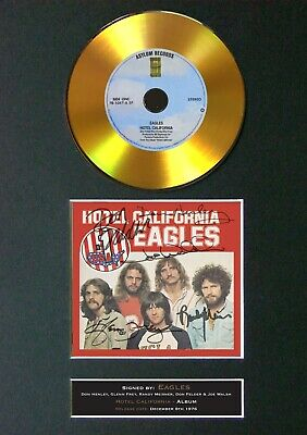 THE EAGLES Hotel California Mounted Signed Autograph GOLD CD Print A4 #135 • 20.99£