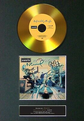 OASIS Definitely Maybe Mounted Signed Autograph GOLD CD Print A4 #114 • 19.99£