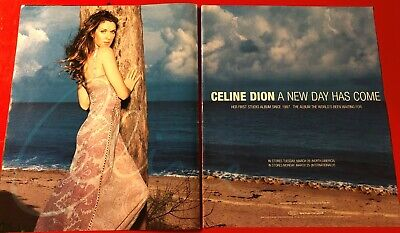BIG 14x22 ORIGINAL CELINE DION  A NEW DAY HAS COME  LP ALBUM CD PROMO AD • 27.90£