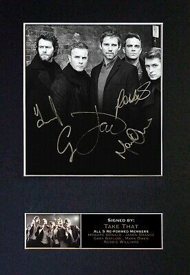 TAKE THAT With Robbie Williams Mounted Signed Autograph Photo Print A4 #117 • 5.95£