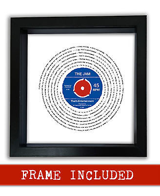 THE JAM THAT'S ENTERTAINMENT Vinyl Framed Print Valentines Day Gift PERSONALISED • 25.90£