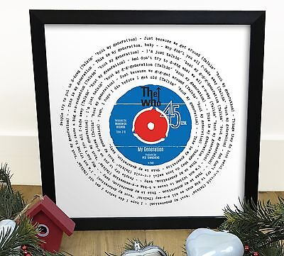 The Who My Generation | Vinyl Single 12 Inch LP Size Framed RETRO MOD GIFT • 32.90£