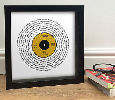 DAVID BOWIE HEROES Vinyl Single Style Song Words Print Framed Valentines Gift • 26.90£