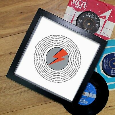 David Bowie Fan Valentine's Day Gift For Him Vinyl Record Print Framed ANY SONG • 27.90£