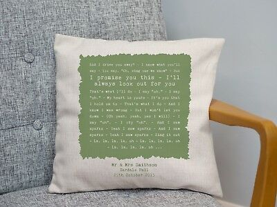 Coldplay 'Sparks' Personalised Song Lyrics Cushion 2nd Cotton Anniversary Gift • 25.90£
