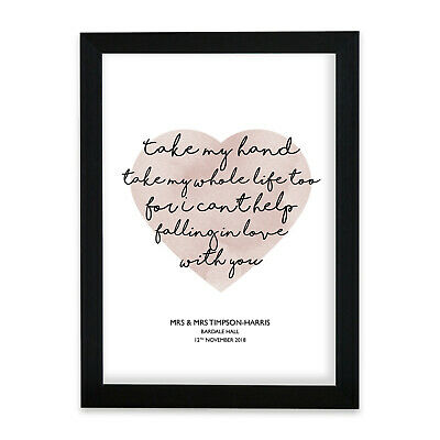 Elvis Can't Help Falling In Love Heart Print Music Song Lyric Personalised Gift • 24.90£