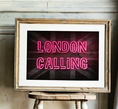London Calling NEON EFFECT Prints, The Clash Artwork, London Poster • 37.99£