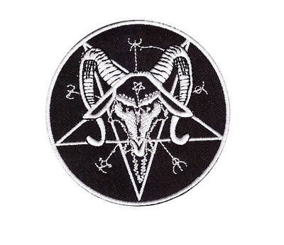 Satanic Baphomet Pentagram Patch Gothic, Occult, Iron Or Sew On.  7.5 Cm. UK • 2.49£