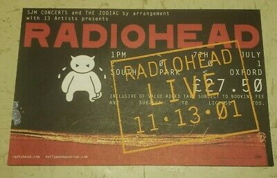 Radiohead Live 11*13*01 2001 Oxford UK Concert Poster PROMO 11  By 17  • 9.54£