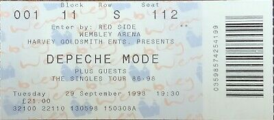 DEPECHE MODE-The Singles Tour 86-98-WEMBLEY ARENA 29th September-1998 CONCERT • 4.50£