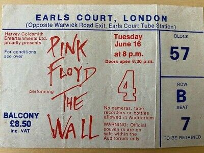 Vintage Pink Floyd Ticket Stub The Wall Concert At Earls Court 1981 • 22£