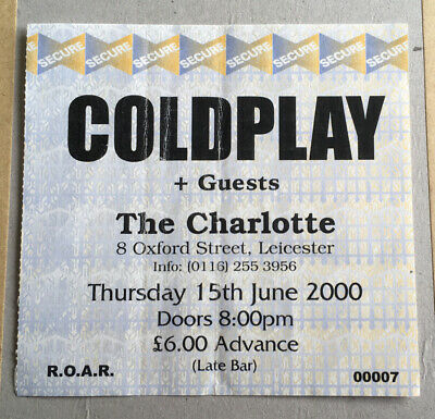 Coldplay Very Rare 2000 Ticket Stub Leicester The Charlotte • 30£