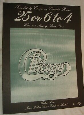 CHICAGO Original Sheet Music For  25 Or 6 To 4  • 3.99£