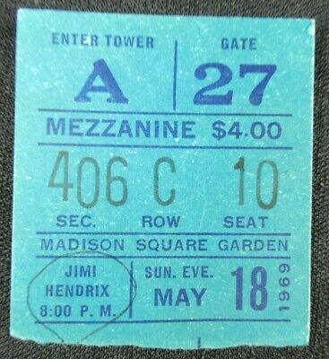 Vintage 1969 Jimi Hendrix Concert Ticket Stub At Madison Square Garden Ny City • 149.34£