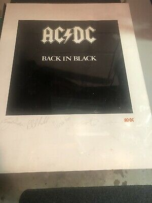AC/DC-Back In Black- Plate Signed Lithograph-fair To Great Shape- Ships Rolled • 56.29£