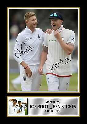Signed Ben Stokes & Joe Root Autographed Framed Print Gift A4 A3 A2 A1 • 28.99£