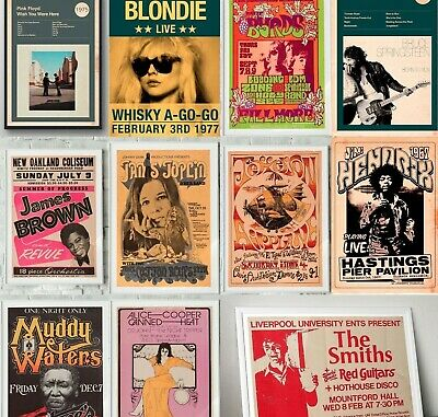 RARE BAND ROCK Posters, Concert Posters, Tour Posters, A5 A4, A3, A2 • 4.99£